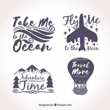 travel stickers images Pack of four vintage travel stickers vector free download jpg