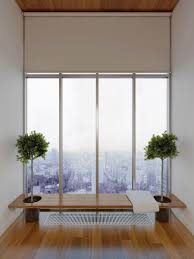 small modern minimalist loft apartment city view bathroom with