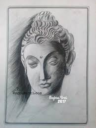 buddha face pencil shading work