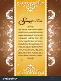 Text For Invitation Card Golden Floral Vintage Template Invitation Card Stock Vector