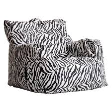 bedroom big bean bag chair which decorated with zebra print