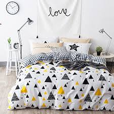 triangle bedding oroa gingham white twin duvet cover set black yellow triangle