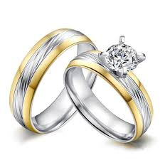 steel promise rings images Round cut white sapphire gold silver titanium steel promise jpg