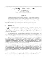 how to write a paper on a case study improving order lead time a case study pdf download available