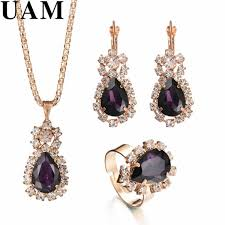 earrings necklace images Fashion gift jewelry gold color water drop shape crystal earrings jpg