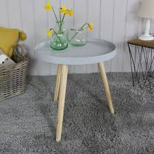 light grey coffee table light grey round side table melody maison