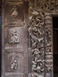 beautiful wood carvings at shwenandaw monastery stock image