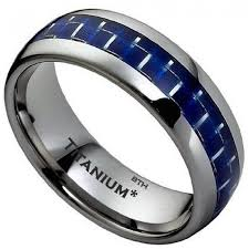 mens blue wedding bands carbon inlay titanium classic mens wedding engagement ring
