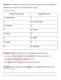 nouns common and proper nouns test quiz worksheet by bigredapple