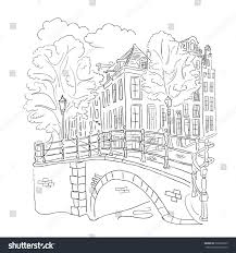 coloring book view street amsterdam stock vector 265893209