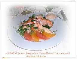assiette de cuisine assiette de la mer langoustine et crevettes roses aux agrumes