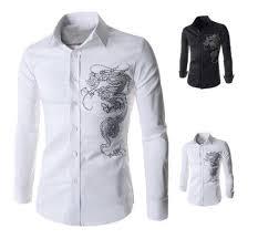 2018 men u0027s dress shirt brand small dragon logo tops mens slim fit