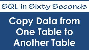Mysql Copy Table From One Database To Another Copy Data From One Table To Another Table Sql In Sixty Seconds