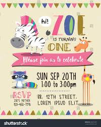 Card Party Invitation Cute Animals Birthday Party Invitation Card Stock Vector 449911867