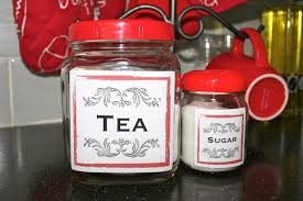 kitchen vintage inspired glass jar labels for tea coffee and sugar