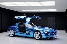 blue mercedes mercedes sls amg electric drive supercar got your electric blue