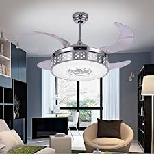 Ceiling Fan Lighting Fixtures Colorled Silver Retractable Blades Indoor Ceiling Fan With Light