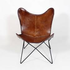 chaise de bureau style industriel fauteuil papillon en cuir marron détails de couture loft