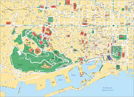 touristic map of map of barcelona tourist attractions sightseeing tourist tour