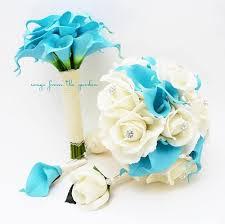 calla bouquet blue white real touch bridal bouquet calla lilies roses