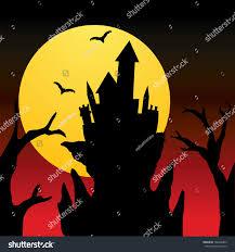 halloween background silhouettes halloween castle silhouettes fullmoon background stock vector