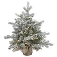 2ft pre lit frosted artificial tree burlap base clear