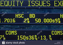 stock ticker usa york stock market prices on ticker board stock photo
