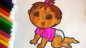 dora the explorer coloring pages dora baby fun coloring book for