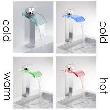 elite 8866c new style led light water faucet tap 3 color chrome