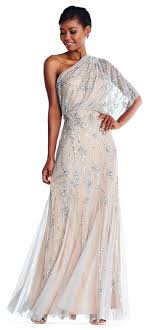 papell dress one shoulder beaded gown papell