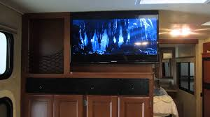 home theater entertainment center rv home theater install thor ace 29 2 youtube