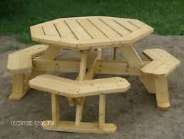 Picnic Table With Benches Plans Octagon Picnic Table Plans Easy To Do Ebay
