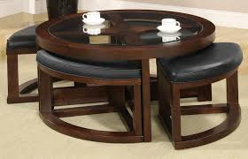 coffee table with four ottoman wedge stools buy furniture of america cm4321c crystal cove ii round coffee table