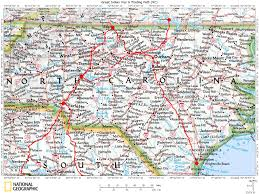 North Carolina Map Of Cities And Towns Historic Roads Trails Paths Migration Routes Virginia