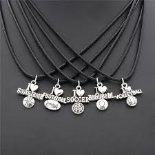 charm leather necklace images Fashion punk sproty antique silver i love football soccer baseball jpg