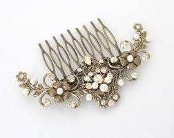 antique hair combs rhinestone hair comb etsy
