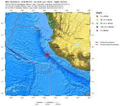 Bucerias Mexico Map by Earthquake Magnitude 5 5 Offshore Jalisco Mexico 2015