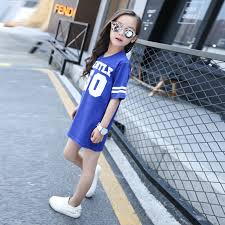 girls loose letters t shirt summer cotton sports jersey