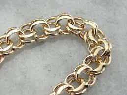 gold charm link bracelet images Classic double link vintage gold charm bracelet jpg