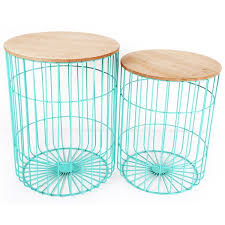 Wire Side Table Teal Japanese Table Set Wire Side Tables Temerity Jones
