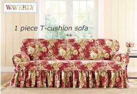Sure Fit T Cushion Sofa Cover Surefit Ballad Bouquet By Waverly Slipcover