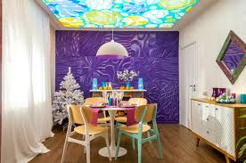 Orange And Blue Christmas Decorations by Super Bright Dining Room Purple Orange U0026 Blue Home Interior