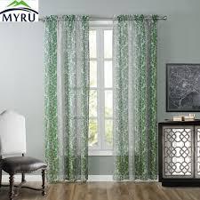 Green Sheer Curtains Myru Fashion Fresh Green Geometric Pattern Window Screen Pop Style