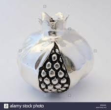 silver pomegranate ornament stock photo royalty free image