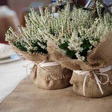 burlap decorations for wedding burlap wedding plant wrap floral centrepiece by baloolahbunting