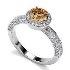 citrine engagement rings 7mm vintage citrine engagement ring in 14k white gold