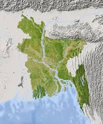Relief Map Bangladesh Shaded Relief Map Surrounding Territory Greyed Out