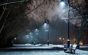 path bench beauty colors park winter snow bench lights lamp