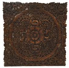 large square carved lotus wood plaque rustic wall decor