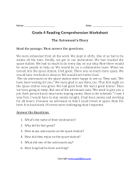 reading comprehension 4th grade worksheet fourth grade reading passages with comprehension